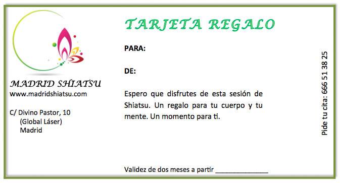 Tarjeta de regalo de una sesión de Shiatsu en Madrid